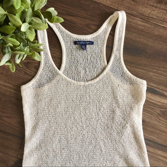 American Eagle Cream Knit Racer Back Tank Top